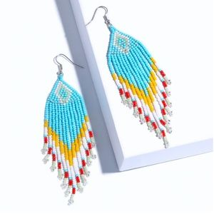 Blue Yellow Tribal Boho Gypsy Drop Beaded Earrings